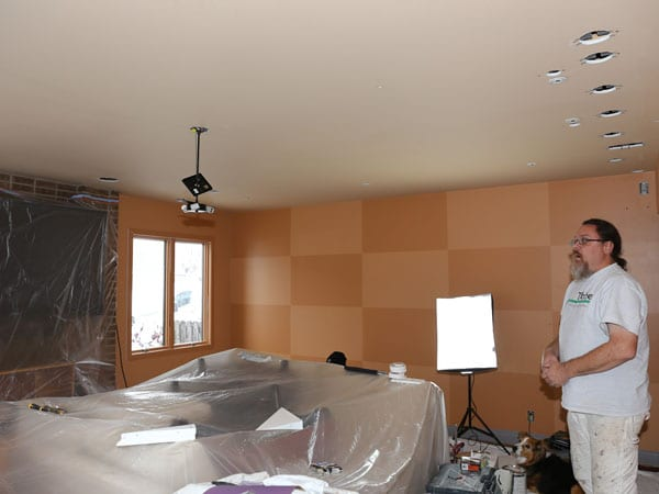 Prepping the living room for painting