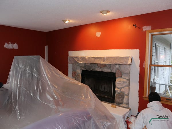 Repainting walls in the first floor on this Ann Arbor home