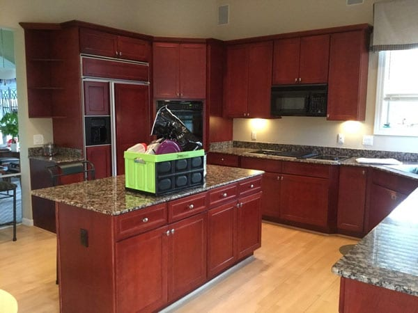 Before kitchen cabinet painting project in Novi Michigan