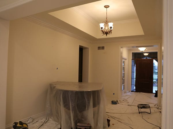 Hall and room before painting