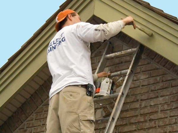 Painting exterior trim on a home