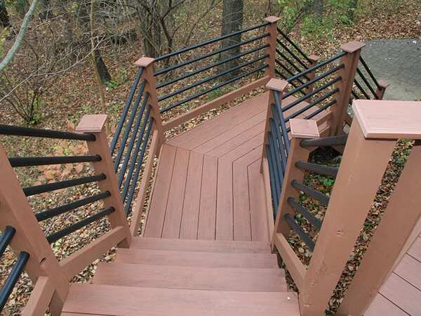 Freshly painted deck stairs