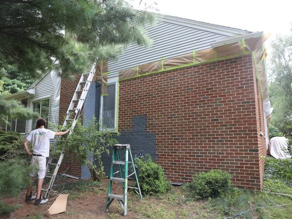 Painting the brick exterior