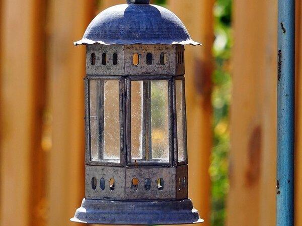 Light fixture in backyard