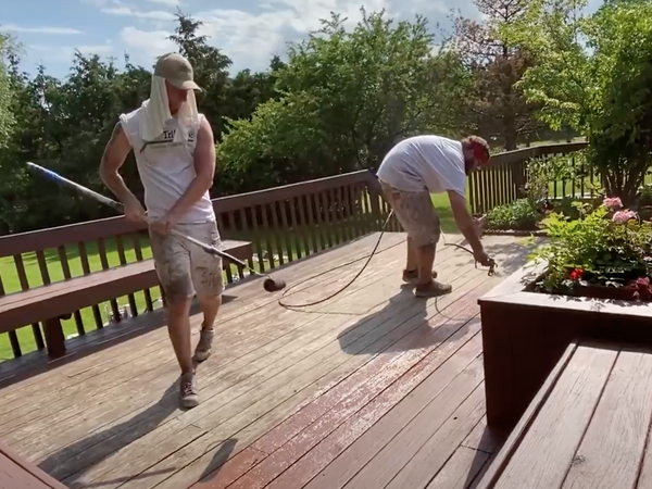 Tribble team staining decking