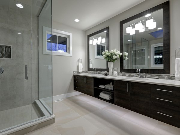 Master bathroom painted a light gray