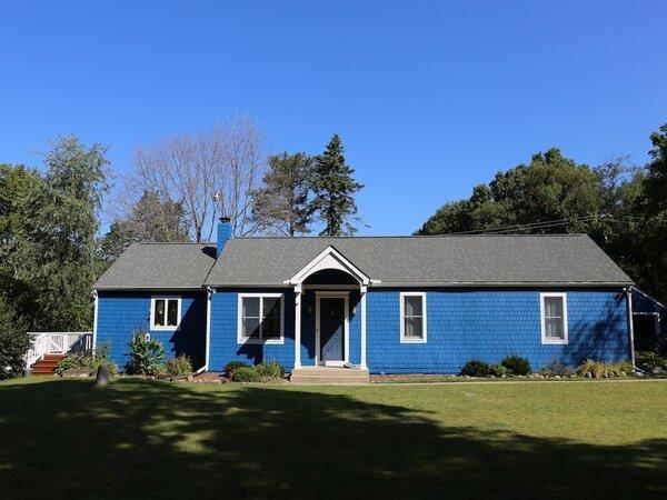 Bright blue house exterior