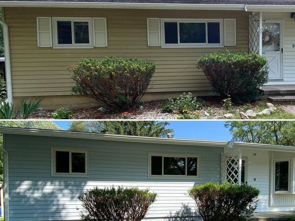 Home exterior before and after painting
